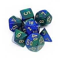 Chessex Gemini Polyhedral 7-Die Set - Blue-Green with gold