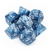 Chessex Lustrous 7-Die Set - Slate with white