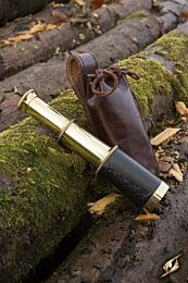 Telescope With Leather Pouch - Brass
