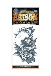 Skull And Roses Temporary Prison Tattoo