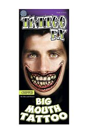 Chipped Big Mouth Temporary Tattoo