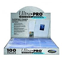 Silver 9-Pocket Pages (11 Hole) Display (100 Pages)