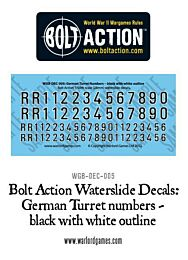 BA German Turret numbers - black with white outline decal sheet