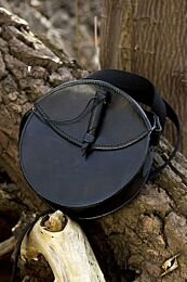 Round Leather Bag - Zwart