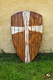 Crusader Shield - Wood/White - 90x60 cm