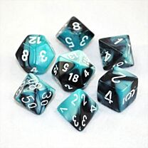 Gemini Polyhedral 7-Die Set - Black-Shell with white
