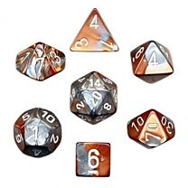 Gemini Polyhedral 7-Die Set - Copper-Steel with white