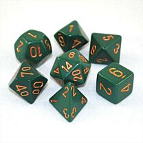 Chessex Opaque Polyhedral 7-Die Sets - Dusty Green w/gold