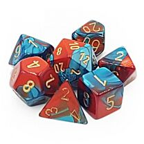 Gemini Polyhedral 7-Die Set - Red-Teal with gold