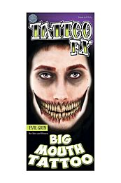 Evil Grin Big Mouth Temporary Tattoo